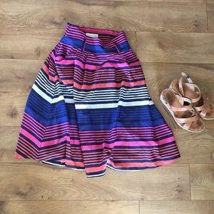 Striped Bright Midi Swing Skirt